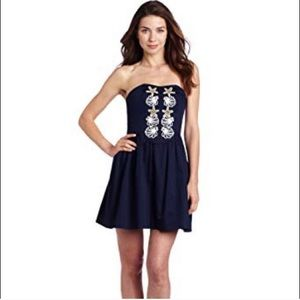 Lilly Pulitzer Mayfield Navy Strapless Seashell